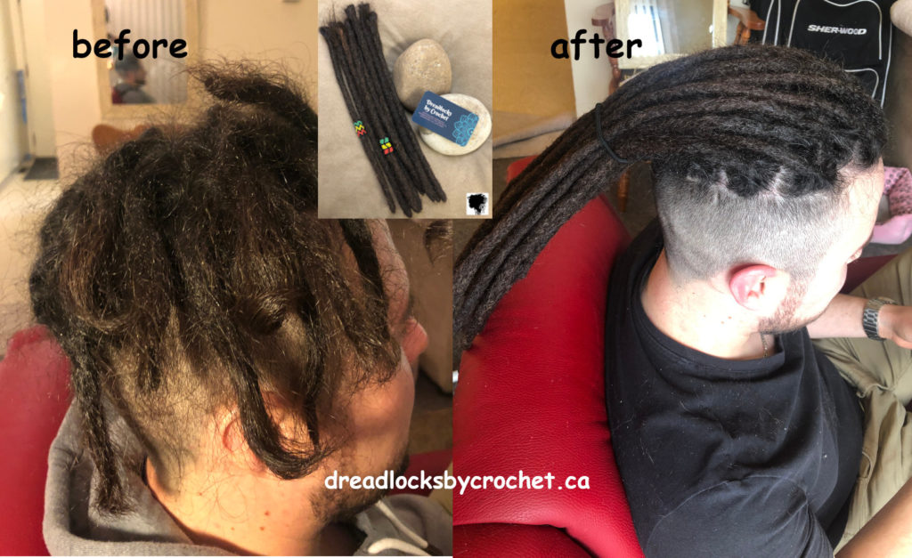 Straight-Hair Dreadlock Extensions Installation Edmonton Canada