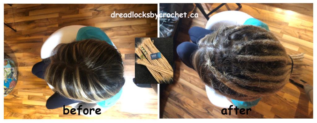 Straight-Hair Dreadlock Extensions Installation Edmonton Canada